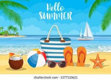 Summer accessories for the beach with yachts. Bag, sunglasses, flip flops, starfish, ball. Against the background of the sun the sea and palm trees. Vector illustration in flat style