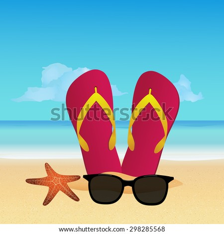 7742b90bc445 Summer accessories  flip flops and sunglasses on tropical sunny beach. Summer  vacation concept background