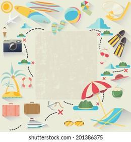 summer accessories, vector illustration.