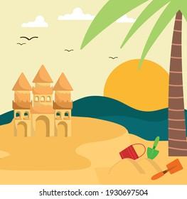 summer activities beach ball sandcastle