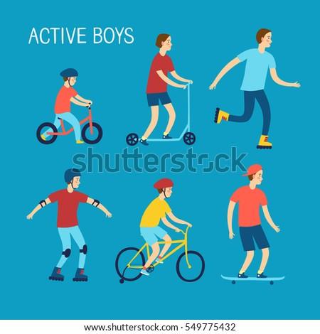 Summer Activities Kids Cartoon Set Active Stock Vector Royalty Free