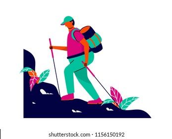 Summer activity, hiker with his backpack and walking sticks hiking on mountain