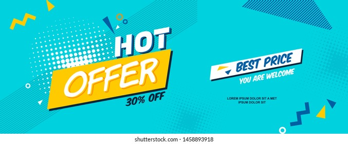 Summer ad sale banner in pop-art style. Bright colorful text and shapes for your summer specials. Vector background template.