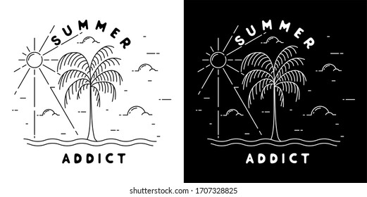 summer addict with palm monoline design