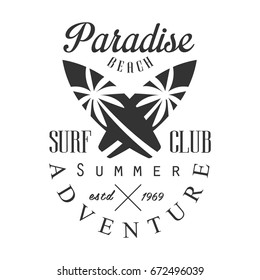 Summer adventure surf club estd 1969, paradise beach logo template, black and white vector Illustration