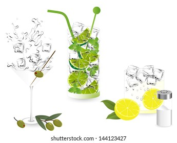 Summer alcohol cocktails - martini, mojito and tequila