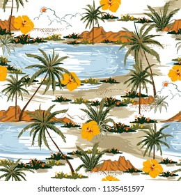 Summer Aloha seamless island pattern vector. Landscape with palm trees,beach and ocean vector hand drawn style on white color background.