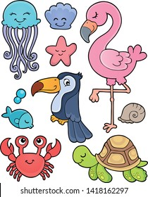 Summer animals theme set 1 - eps10 vector illustration.