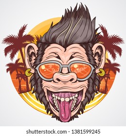 SUMMER APE CHIMPANZEE HEAD SMILE FACE WITH COCONUT TREE VECTOR