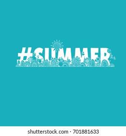 #summer aqua vector illustration with the word hash tag summer, swirls, sunshine, flowers, cactus, ice-cream and flies