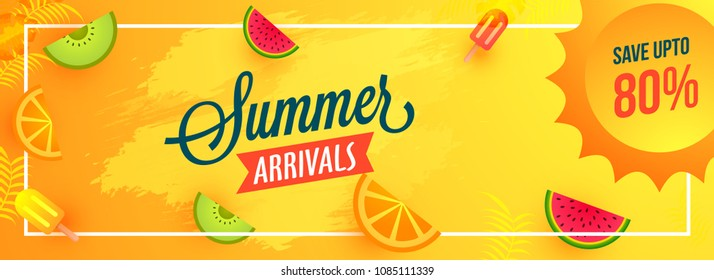 Summer arrivals header or banner design with save upto 80% off offers, seasonal fruits, and ice cream on yellow background.