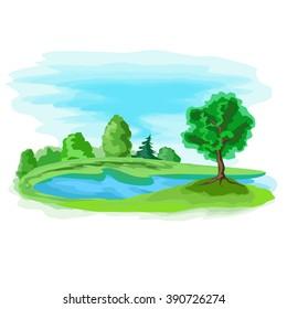 Summer artistic landscape background