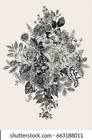 Summer and autumn bouquet. Dahlias, Ruscus, Viburnum, Ranunculus, cherry. Vector vintage illustration. Black and white