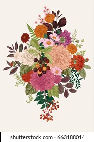 Summer and autumn bouquet. Dahlias, Ruscus, Viburnum, Ranunculus, cherry. Modern floristics. Vector illustration. Colorful