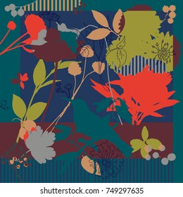 Summer, autumn colors. Silk scarf with blooming poppies. Abstract vector pattern floral elements. 1950s-1960s motifs.