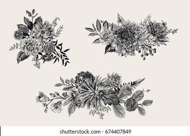 Summer and autumn set floral bouquets. Dahlias, Ruscus, Viburnum, Ranunculus. Modern floristics. Vector illustration. Black and white
