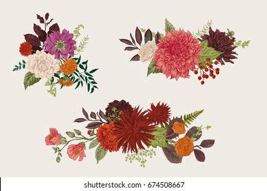 Summer and autumn set floral bouquets. Dahlias, Ruscus, Viburnum, Ranunculus. Modern floristics. Vector illustration. Colorful