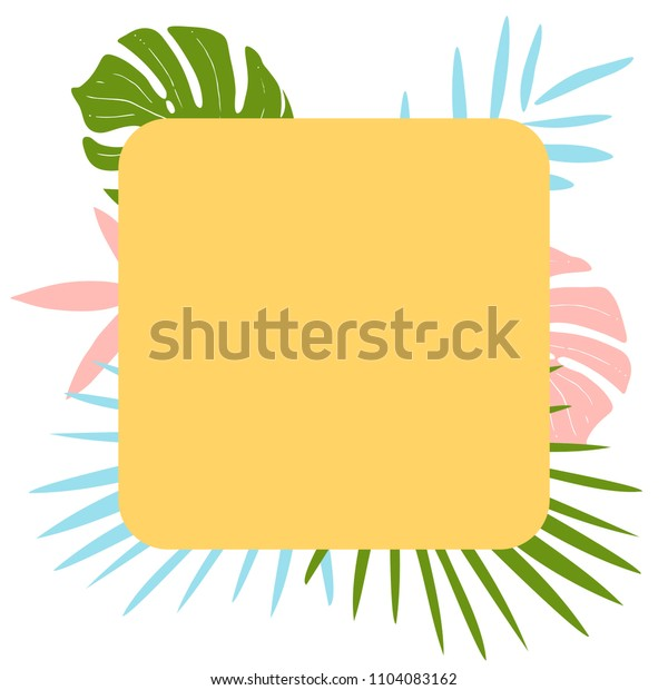 Summer backgound with tropical leaves for scrapbooking, posters, greeting cards, announcements, advertisement, labels, border