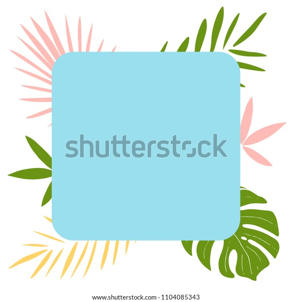 Summer backgound with tropical leaves for scrapbooking, posters, greeting cards, announcements, advertisement, labels