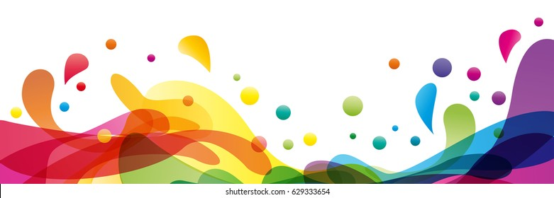 Summer background and banner with water, splash and waves in vector abstract shape