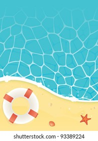 Summer background - Beach and sea with life buoy starfish and shell