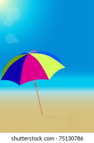 Summer Background - Beach Umbrella on Empty Sandy Beach
