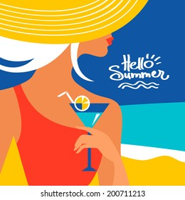 Summer background with beautiful woman silhouette at the seaside. Vector illustration