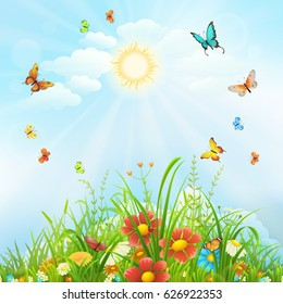 Summer background with butterflies, flowers and green grass