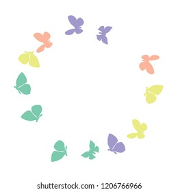 Summer Background with Colorful Butterflies. Simple Feminine Pattern for Card, Invitation, Print. Trendy Decoration with Beautiful Butterfly Silhouettes. Vector Background with Moth