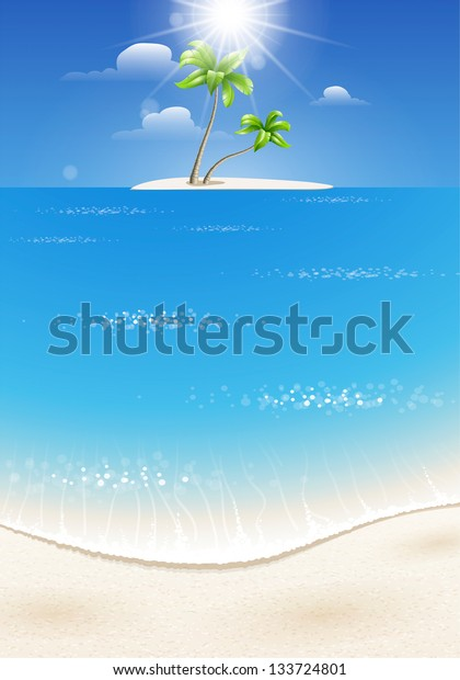 Summer background for design with the sea and a tropical island with palm trees