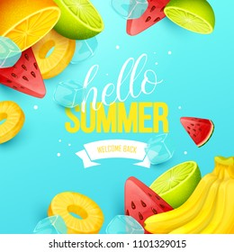Summer background with fruits. Vector illustration. - Shutterstock ID 1101329015