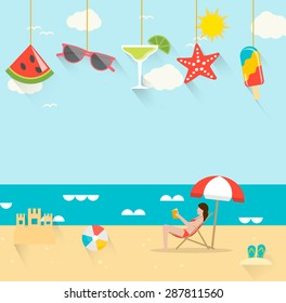 Summer background with girl tanning in the sun and reading a book and hanging summertime icons set, vector illustration in flat design style