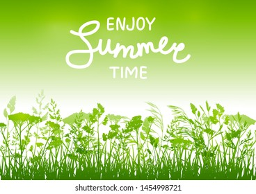 Summer background with herbal silhouettes on green