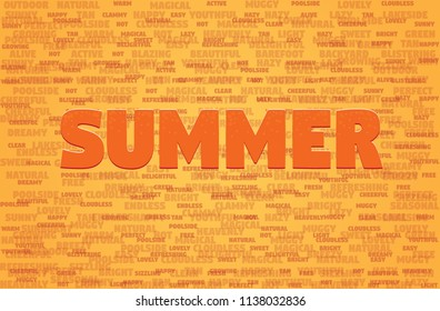 Summer Background Illustration. Summer Words Background.