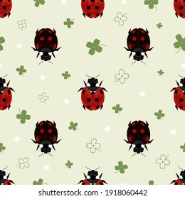 Summer background with ladybugs and clover leaves