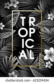 Summer Background with Leaves and Flowers of Tropical Exotic Plants for Party or Wedding Invitation, Flyer or Travel Advertising.