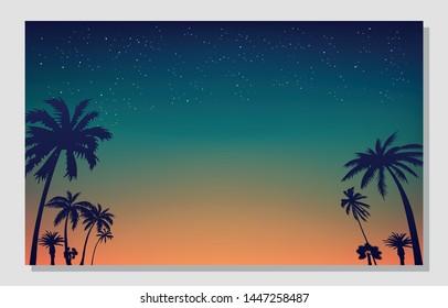 Summer background. Night summer poster. California, vacation, beach.
