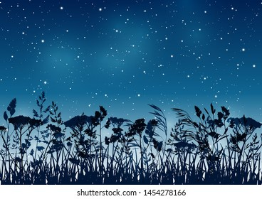 Summer background with palm trees silhouettes on night starry sky
