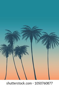 Summer background with palms, sky and sunset. Summer placard poster flyer invitation card.