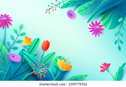 Summer background with paper cut fantasy flowers, leaves, isolated on light. Minimal 3d style floral spring backdrop. Corner composition, copy space. Bright nature origami bouquet. Vector illustration