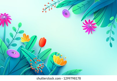 Summer background with paper cut fantasy flowers, leaves, isolated on light. Minimal 3d style floral spring concept. Corner composition, copy space. Bright nature origami bouquet. Vector illustration.