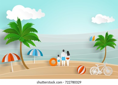 Summer Background in paper cut style