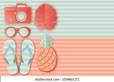 Summer background in pastel colors. Paper cut  sunglasses, retro photo camers, pineapple, slippers, palm leaf, striped beach towel. Summer vacation concept