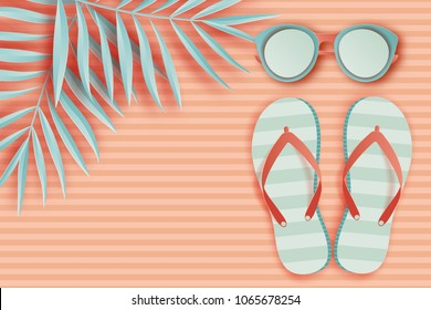 932924561 Summer background in pastel colors. Paper cut sunglasses