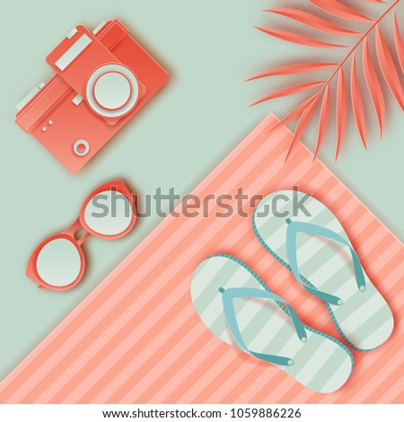 2a64002db Summer background in pastel colors. Paper cut retro photo camera,  sunglasses, striped beach towel, slippers, palm leaf. Summer vacation  concept - Vector