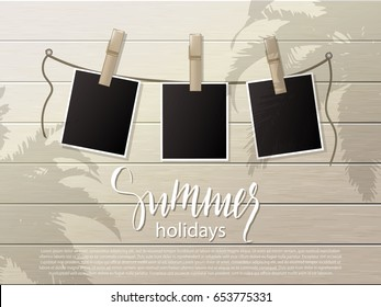 Summer background .Set of photo frames on the rope with clothespin. Wooden wall. Vector illustration
