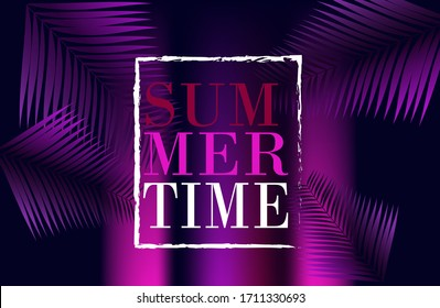 summer background in retro style with tropical leaves. sun, sunset. bright background in retro 80s style. Vector retro poster for your design.