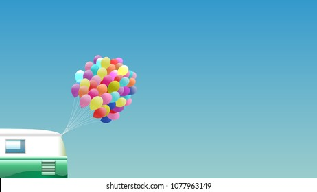 Summer background - Retro van with bunch of colorful balloons - 16:9 format