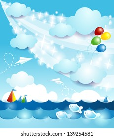 Summer background with sea, vector