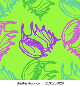 Summer background seamless multicolored clam shell for design.